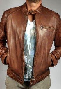 Blouson cuir daytona dustin marron