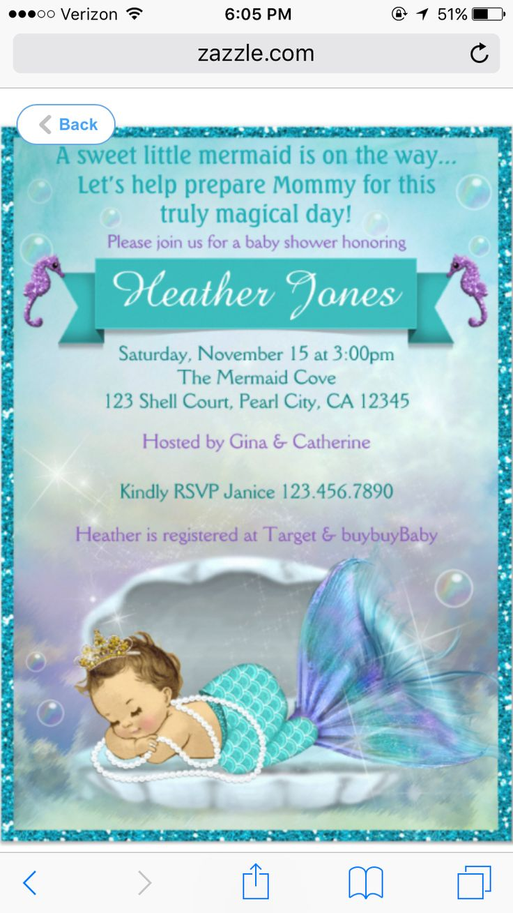 Mermaid Baby invites