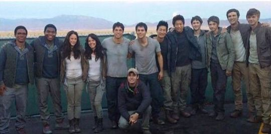 the cast of The Scorch Trials with their stunt doubles wow