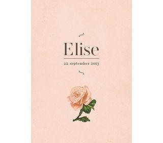 roosje roze - alle geboortekaartjes - geboortekaartjes - Paper and June - Lunabloom - Stijlvolle en ...