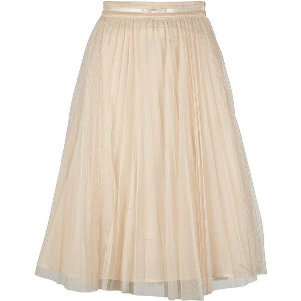 Naf Naf Jupon Plissé Rose (38 CAD) ❤ liked on Polyvore featuring skirts, bottoms, saias, faldas, women, pink midi skirt, naf naf, calf length skirts, rose skirt and mid-calf skirt
