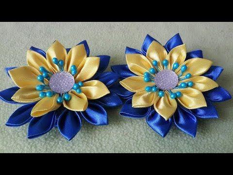 Заколка канзаши Мастер класс заколки своими руками DIY handmade Clip flower ribbon - YouTube