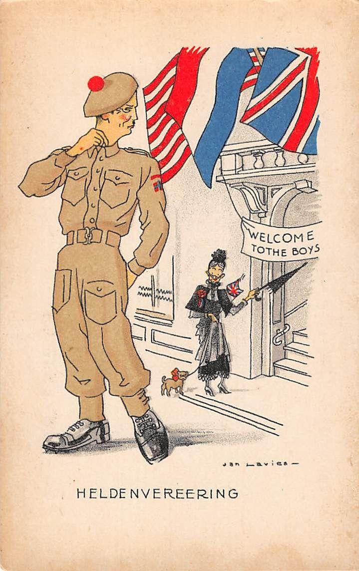 Militair Bevrijding Wo2 Mei 1945 Heldenvereering Soldaten Humor Fantasie Canada Illustrator Jan Lavies Hc10522 House Of Cards Illustrator Soldaten Ansichtkaart