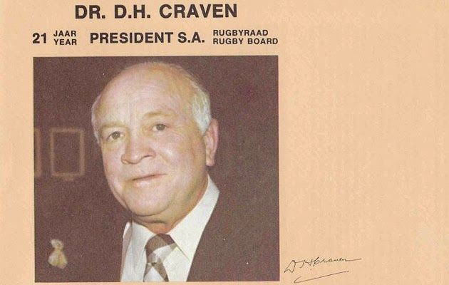 Dr. D.H. Craven - 21jaar President South African Rugby Board