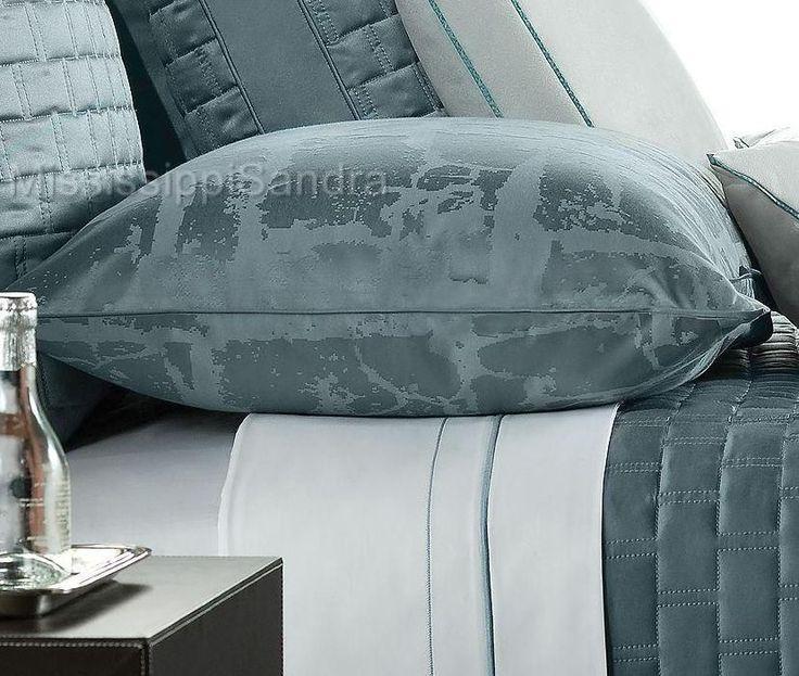 Hotel Collection Glacier KING Pillow Sham Aegean Jacquard Teal Aqua