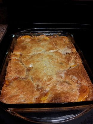 My Grandmothers Fresh Peach Cobbler Recipe - Soul.Food.com  1/2 c of sugar on top 40 min sprinkle cinnamon on top