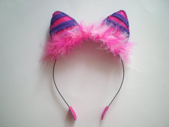 Pink and Purple Felt Cheshire Cat Ear Headband || I could probably DIY this