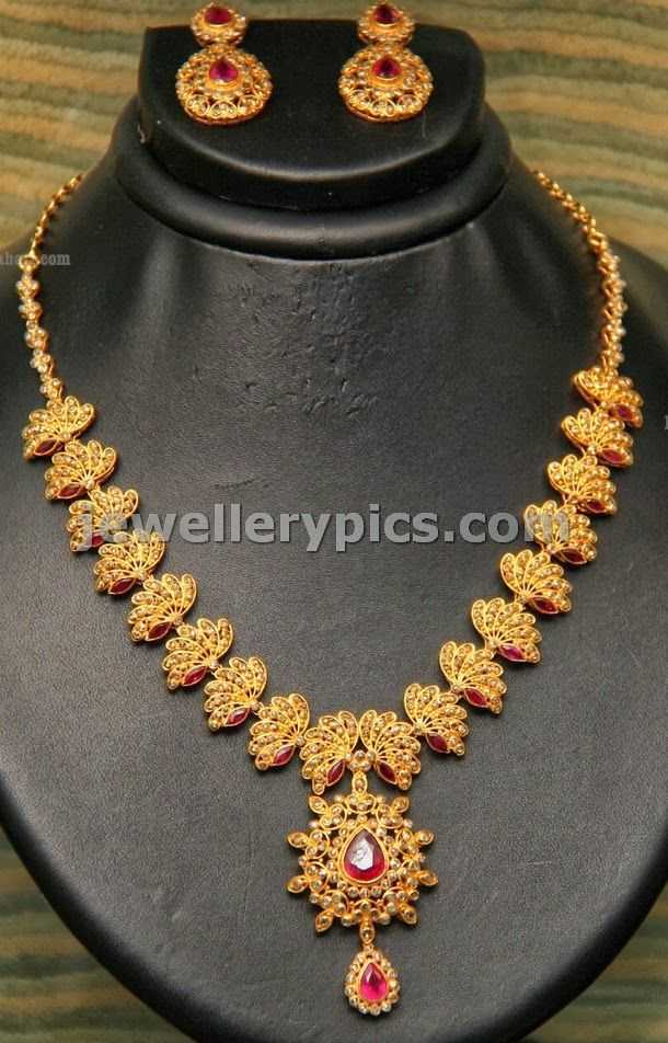 Lotus design uncut necklace by GRT jewels - Latest Jewellery Designs