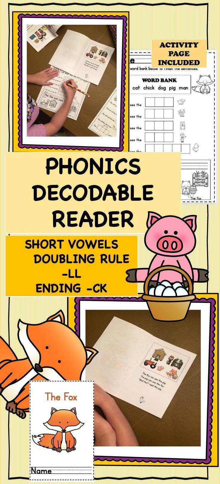 Phonics decodable reader (cvc, short vowel, doubling rule ll, ck, sight words)