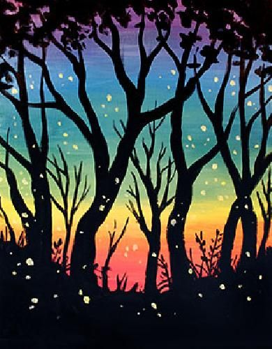 Rainbow sky and tree silhouette with fireflies beginner painting idea. Paint Nite Toronto | Corks Beer and Wine Bar @ Longo Leaside Store