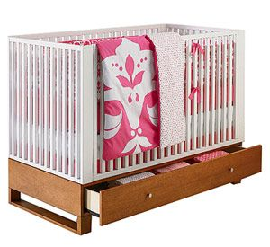 4-Position Mattress & Storage Crib  This stylish Amy Coe crib has 4-position mattress adjustments and converts from toddler bed to daybed, w...