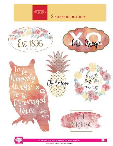 Chi Omega Sorority Stickers- Water Color - Brothers and Sisters' Greek Store