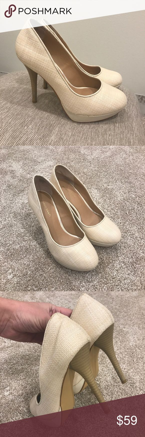 Marco Santi cream pumps high heels (4.5), comfy! These are my favorite comfy pumps, got small once I got pregnant 😭 true to size, maybe little bigger, around 8.5, worn but still look pretty. Wish I could make them 1 size bigger! Marco Santi Shoes Heels