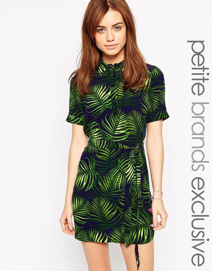 New+Look+Petite+Palm+Printed+Shirt+Dress