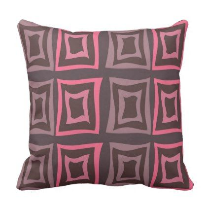Square Distorted Pattern Pink & Brown Throw Pillow - pattern sample design template diy cyo customize