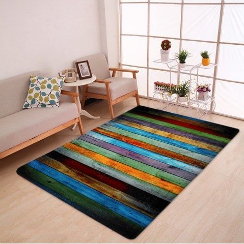 Colorful Stripe Coral Velvet Large Area Rug - W47 Inch * L63 Inch
