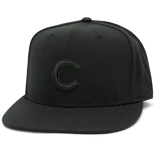 5abe47e0fff Chicago Cubs Basic Black on Black 59FIFTY Fitted Cap