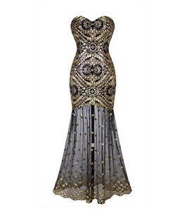 Gatsby Inspired Mermaid Sheer Vintage Look 1920's Art Deco Cocktail Dress