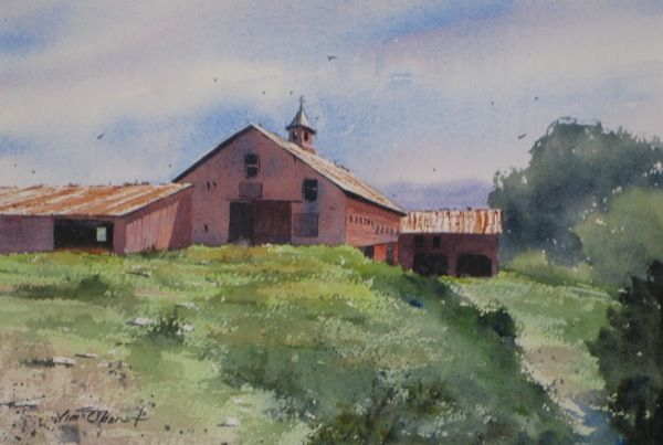 90 best rural landscape watercolor paintings by jim oberst for New england barns for sale