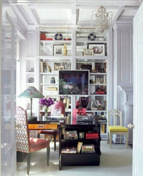 glam + eclecticOffices Home, Offices Design, Home Offices Decor, Offices Spaces, Interiors Design, Bookcas, Small Spaces, Chic Office, Design Offices