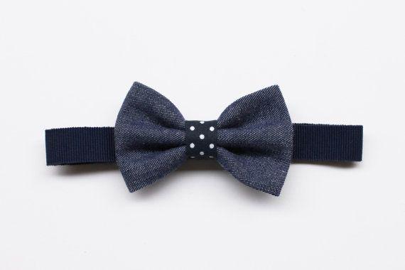 Papillon per Bambino jeans e pois blu,azzurro,fucsia,rosso,accessori denim,regalo per bambino cerimonia,papillon per paggetto porta anelli