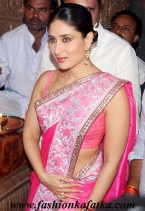 Kareena Kapoor Style Shaded Pink Saree For Heroine's Promotion,Net saree,simple saree with simple border,new style saree,indian saree