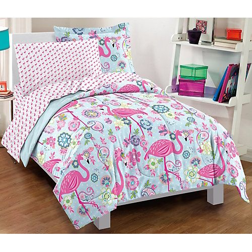 Decorate your rooms in bright colors and fun prints from Dream Factory. Bed in a bag set features a tropical flaminto print and includes 1 comforter, 1 pillow sham, 1 pillow case, 1 flat sheet, and 1 fitted sheet. Fitted sheets have 10''H pockets.