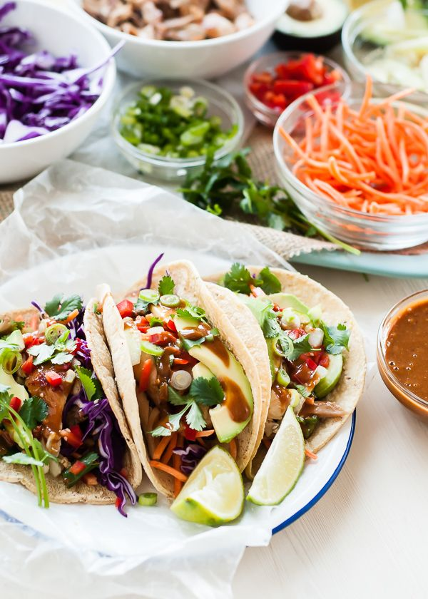 Thai Chicken Tacos with Peanut Sauce by Cafe Johnsonia | mountainmamacooks.com: Chicken Wraps, Tacos Recipes, Thai Chicken, Chicken Tacos, Tofu Tacos, Peanut Sauces, Cafe Johnsonia, Tacos Tuesday, Chicken Breast