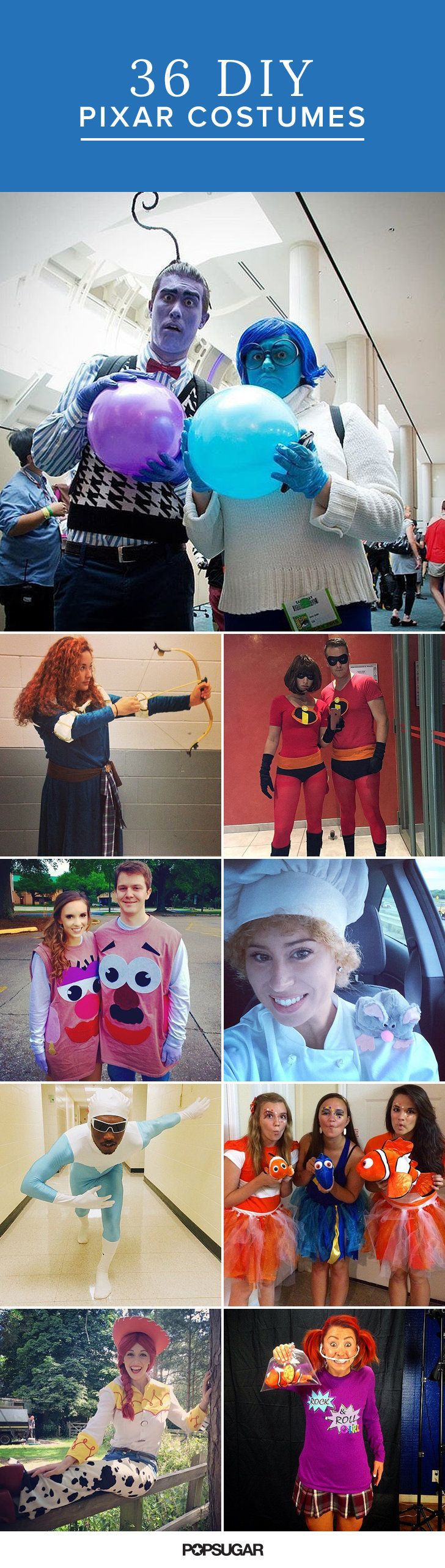 Some of our favorite movies from the past 20 years have come out of the animation studio. If you're a true fan, you'll want to dress up like your favorite characters from Pixar movies.