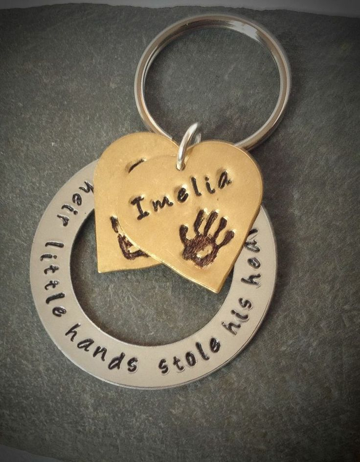 Personalised Hand Stamped Gift for Father's DayHand Prints Key Ring £10