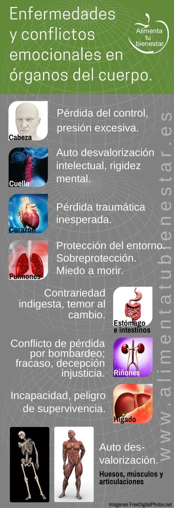 Infografia Enfermedades y conflictos emocionales en el cuerpo