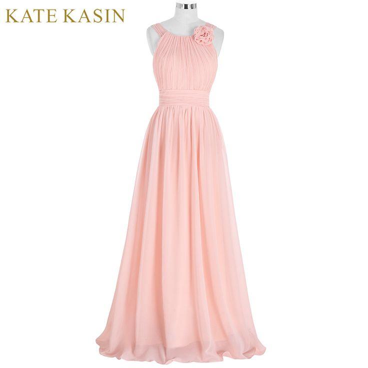 Elegant Pink Bridesmaid Dress Long Chiffon Vestido de Festa de Casamento Beach Bridesmaid Dresses 2017 Wedding Formal Dress