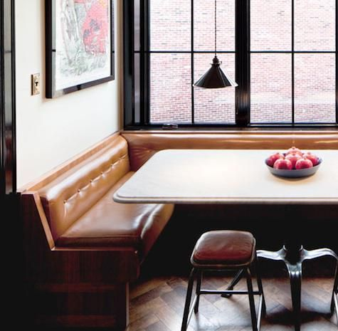 A custom dining niche by Own Entity in New York, located in the Roman and Williams-designed 211 Elizabeth Street project in New York. Photo ...