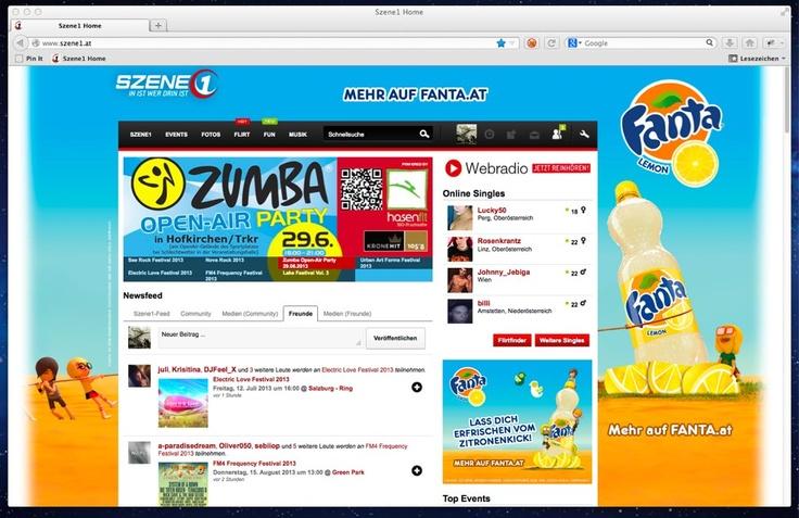 Fanta - Sitebranding auf Szene1.at