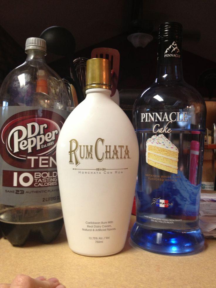 Snickerdoodle Delite: 2 parts Dr. Pepper 10, 1 part Cake Vodka, Splash of Rum Chata= Delish!