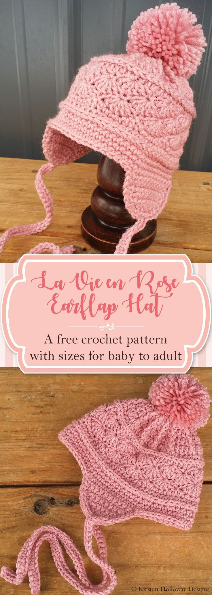 Make a cute ski hat with this free crochet pattern! It's easy to follow, and includes instructions for multiple sizes from baby, and kids, to adult. This is an easy DIY craft pattern that is simple, yet beautiful, and will keep you warm this winter!