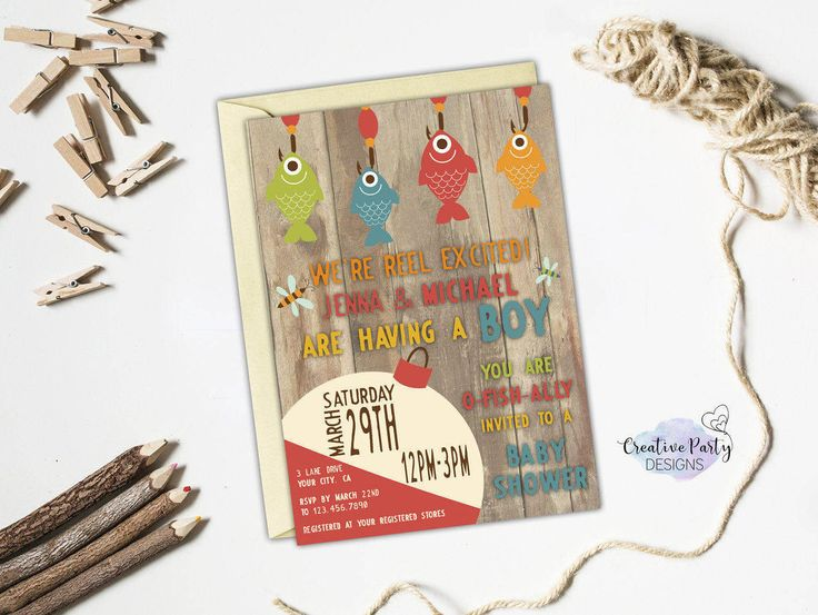 197 best baby shower invitations and ideas images on pinterest fishing baby shower invitation fishing invitation fish baby shower invite gone fishing baby filmwisefo