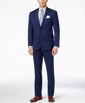 Kenneth Cole Reaction Men's Bright Blue Sharkskin Slim-Fit Suit - Suits & Suit Separates - Men - Macy's