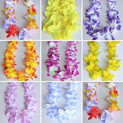 - Made from synthetic pedals - One size fits all - Small orchids flower design These Hawaiian style orchid leis are perfect for your seaside wedding, beach party, nautical theme party, luau, or any oc
