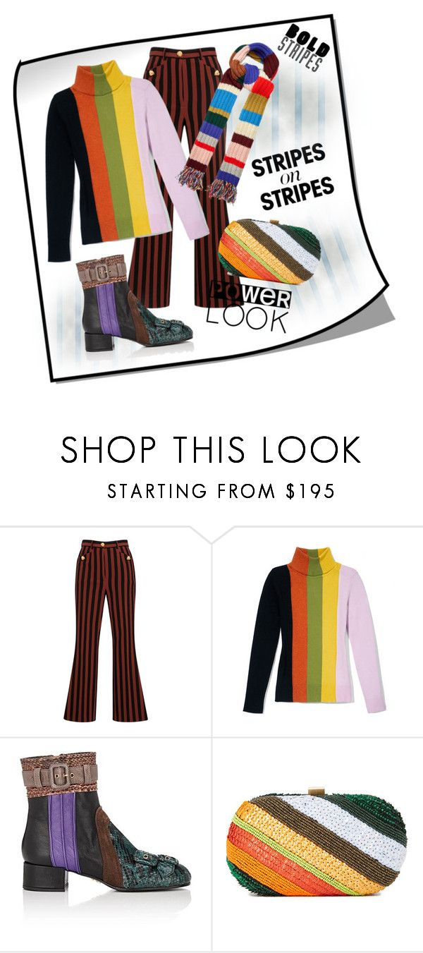 """""""Bold Stripes"""" by paper-n-peony on Polyvore featuring Dolce&Gabbana, JoosTricot, Prada, Santi, Burberry, stripesonstripes and PatternChallenge"""