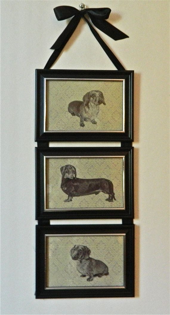 cute handmade dachshund collage wall hanging made from picture frames hanging is made of three