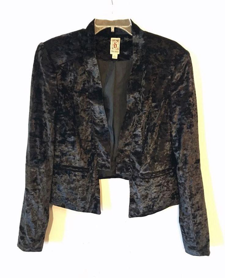 Decree Tuxedo Bolero Jacket Crushed Velour Soft Open Front Black Steampunk Large #Decree #JacketsCoatsCloaks