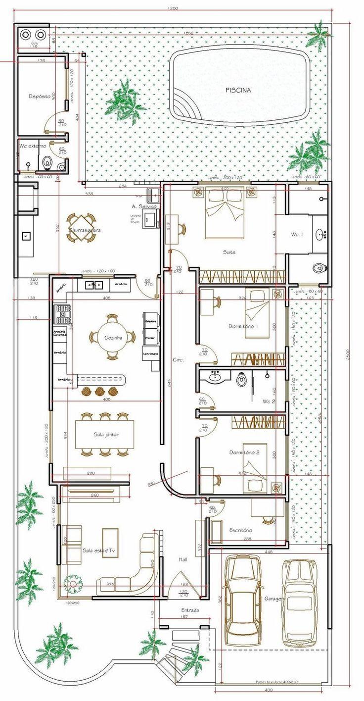 Projeto de casa térrea de 3 quartos com 179,35m*