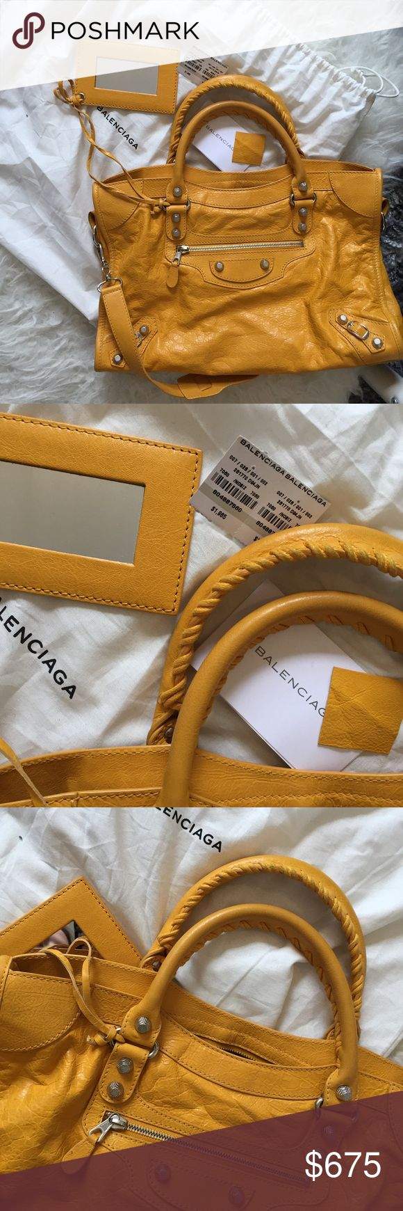 Balenciaga Gold City Bag Ridiculously rare, only around 100 made with this combination of hardware and color. Bought directly from Balenciaga, comes with all identification and authentication documents. Amazing condition with extremely light wear at handles which will come off with leather cleaner. Bought in June of 2016. Balenciaga Bags
