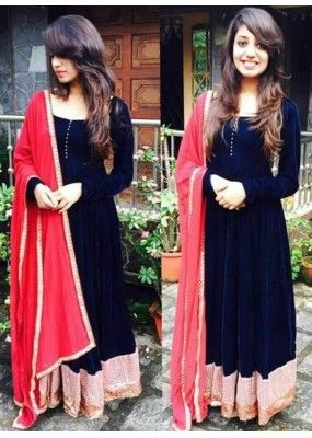 Bollywood Replica - Party Wear Blue & Red Anarkali Suit - 70921