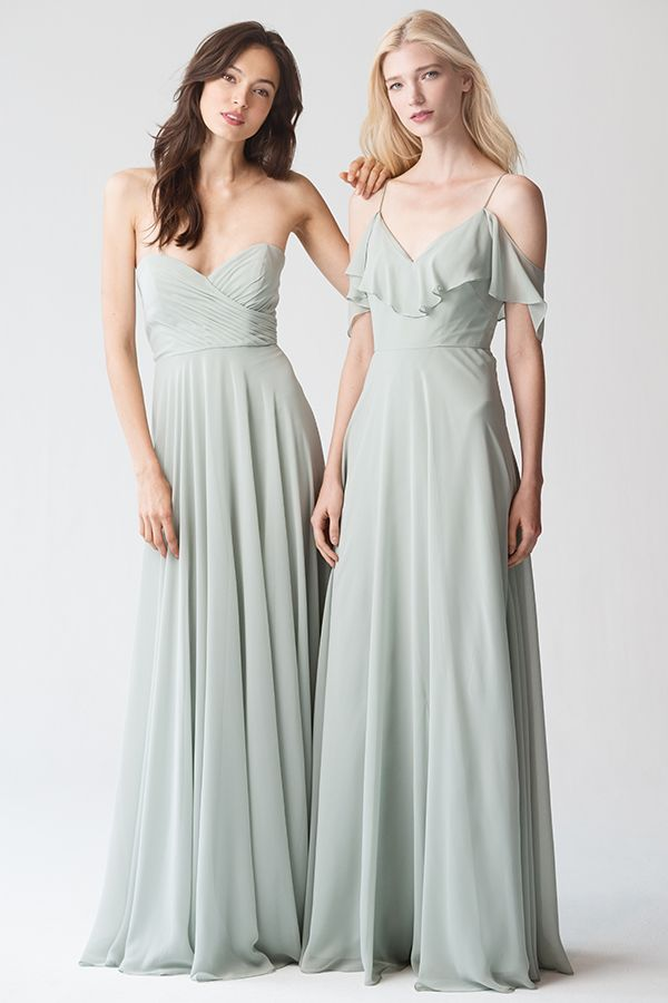 Adeline + Mila Dress in Morning Mist Chiffon by Jenny Yoo. Strapless and V-Neck bridesmaids dresses in light green/blue. For a timeless, classic, and whimsical wedding. #whimsical #strapless #mint