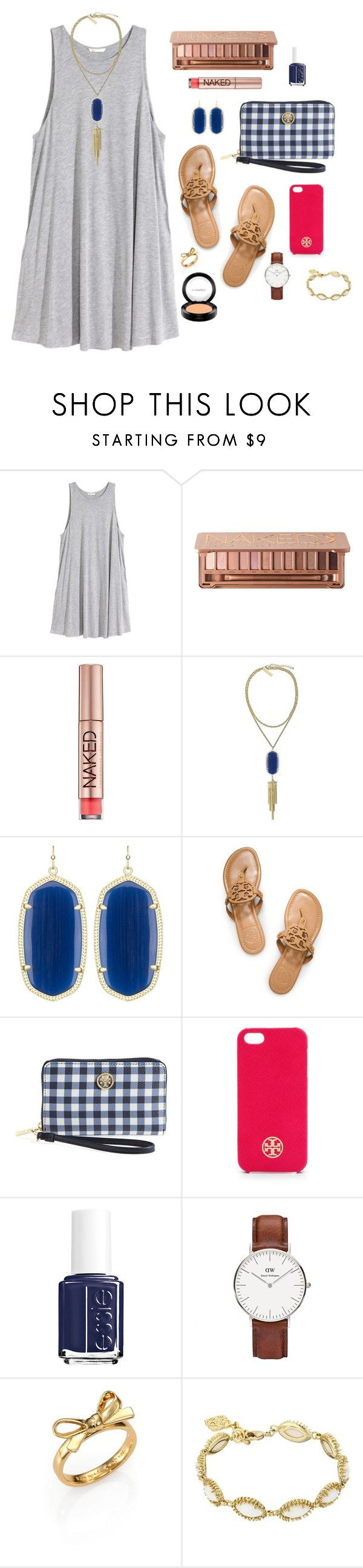 """No. 46"" by juliabrueggemeyer ❤ liked on Polyvore featuring H&M, Urban Decay, Kendra Scott, Tory Burch, Essie, Daniel Wellington, Kate Spade and MAC Cosmetics"