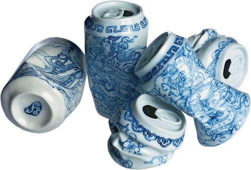 blue and white porcelain crushed cans by chinese contemporary artist Lei Xue.