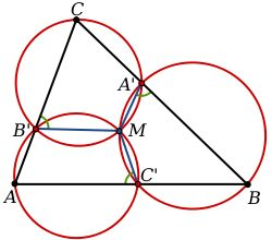 Miquel's theorem: A diagram showing circles passing through the vertices of a triangle ABC and points A´, B´ and C´ on the adjacent sides of the triangle inte...