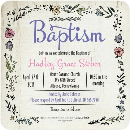 Blessedly Wreathed - Baptism, Christening Invitations - Sarah Hawkins Designs - Violet - Purple : Front